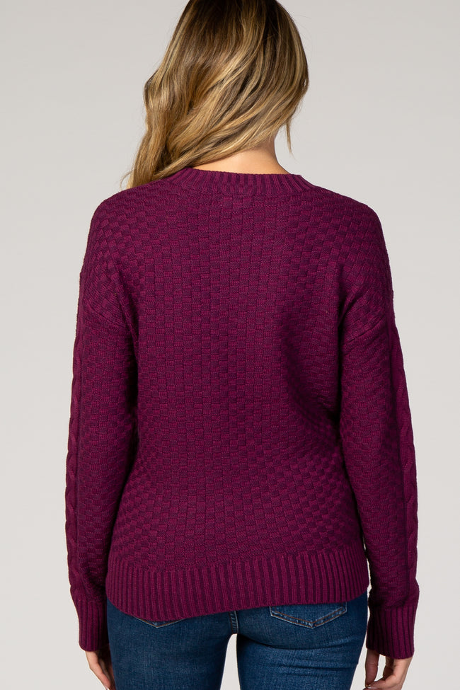 Plum Cable Knit Maternity Sweater