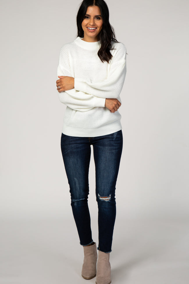 Ivory Knit Puff Sleeve Sweater