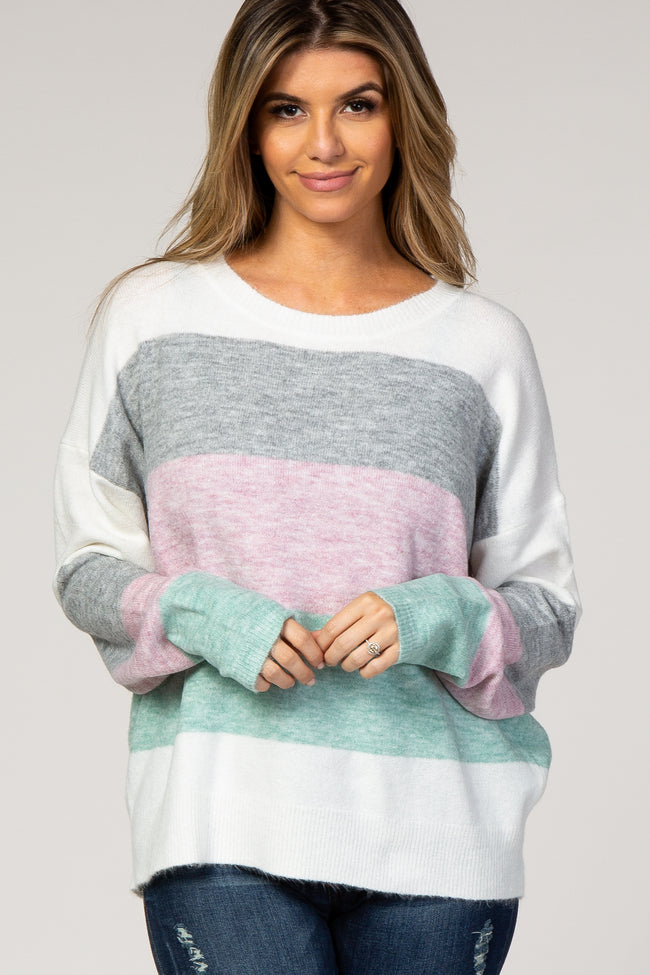 Heather Grey Colorblock Long Sleeve Maternity Sweater