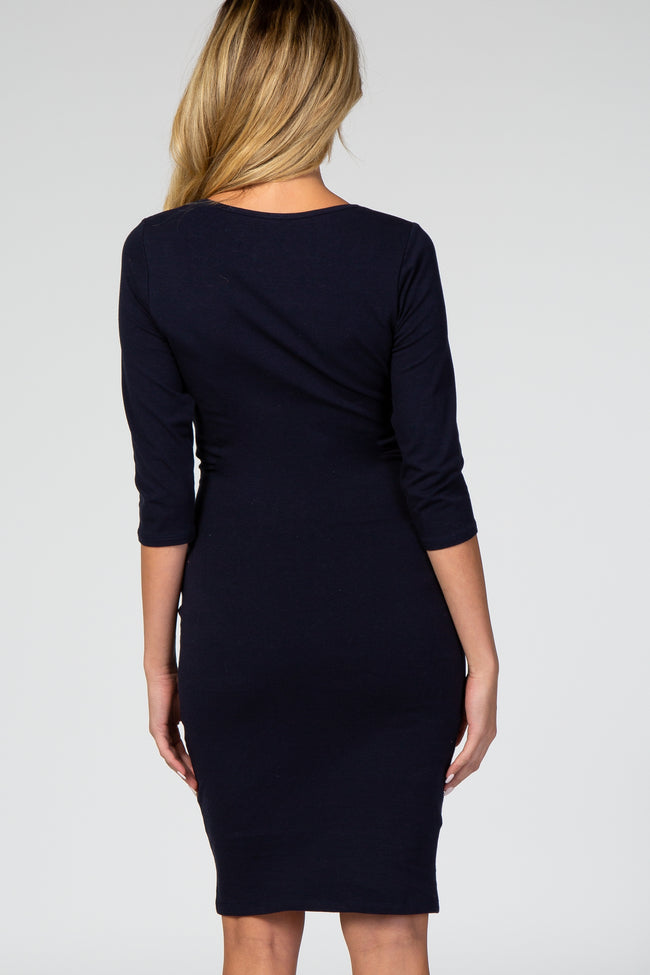 PinkBlush Navy Blue 3/4 Sleeve Scoop Neck Fitted Maternity Dress