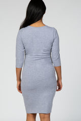 PinkBlush Heather Grey 3/4 Sleeve Scoop Neck Fitted Maternity Dress