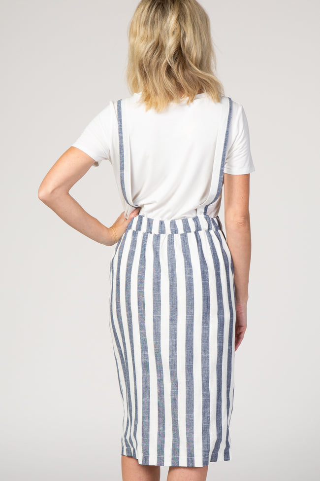 Blue Striped Button front Overall Dress