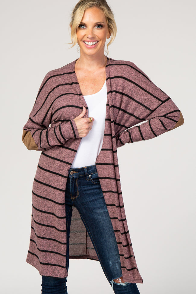 Mauve Striped Suede Elbow Patch Cardigan