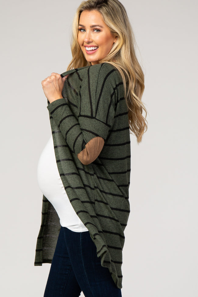 Olive Striped Suede Elbow Patch Maternity Cardigan
