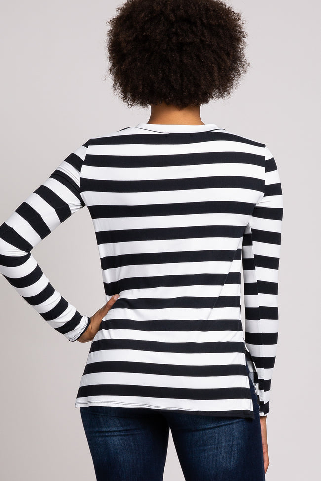 Black Striped Side Slit Long Sleeve Top