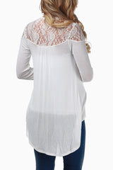 Ivory Lace Back Maternity Cardigan