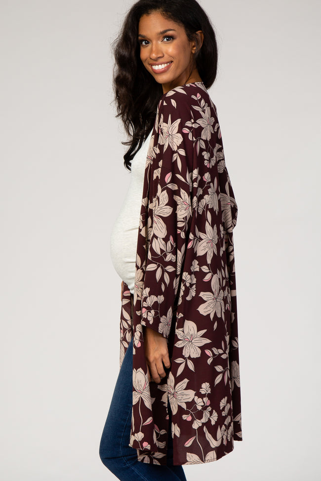 Burgundy Floral Long Sleeve Maternity Cover Up