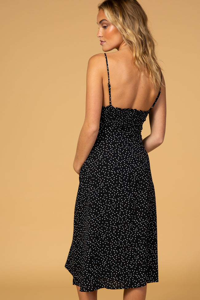 Waverleigh Black Dot Print Maternity Midi Dress