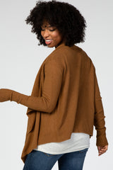 Camel Draped Front Maternity Cardigan