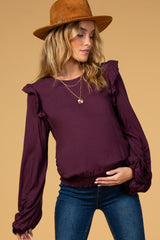 Waverleigh Plum Ruffle Trim Puff Sleeve Maternity Top