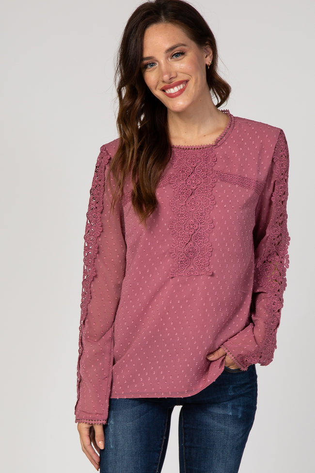 Mauve Lace Trimmed Swiss Dot Top