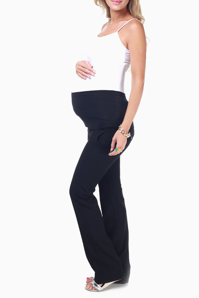 Black Straight Leg Maternity Dress Pants
