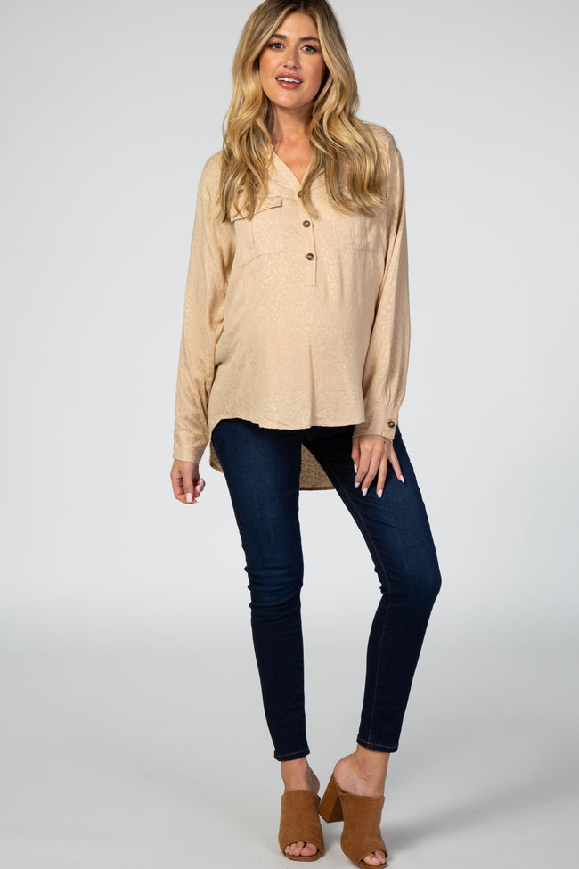 Beige Animal Print Button Front Long Sleeve Maternity Top