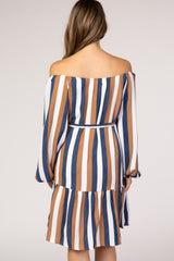 Multi-Color Striped Off Shoulder Puff Sleeve Maternity Dress