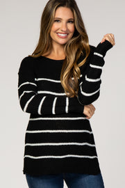 Black Striped Wide Neck Knit Maternity Sweater