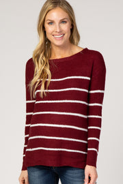Burgundy Striped Wide Neck Knit Maternity Sweater