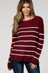 Burgundy Striped Wide Neck Knit Sweater