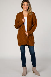 Camel Cable Knit Open Front Cardigan