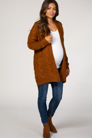 Camel Cable Knit Open Front Maternity Cardigan