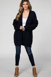 Navy Blue Cable Knit Open Front Cardigan