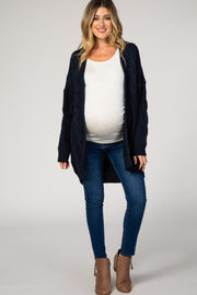 Navy Blue Cable Knit Open Front Maternity Cardigan