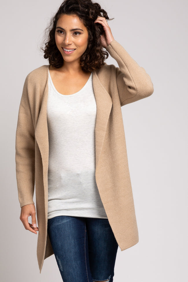 Beige Solid Structured Brushed Knit Cardigan