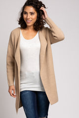 Beige Solid Structured Brushed Knit Maternity Cardigan