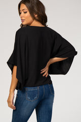 Black Solid Draped Short Sleeve Maternity Top