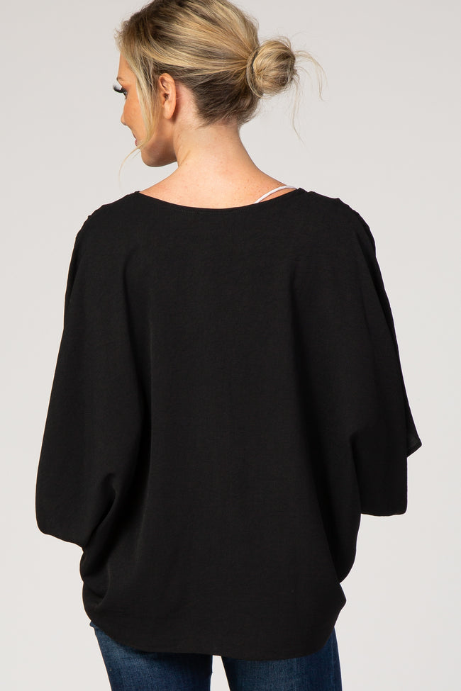 Black Solid Draped Short Sleeve Top