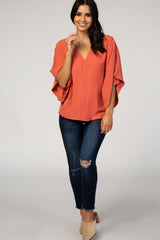 Rust Solid Draped Short Sleeve Top