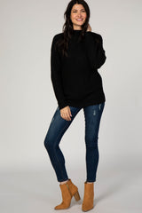 Black Solid Mock Neck Lace Up Sleeve Sweater