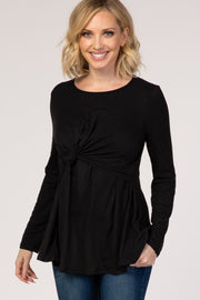 PinkBlush Black Front Knot Long Sleeve Nursing Top