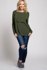 PinkBlush Olive Solid Layered Front Nursing Top