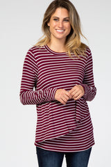 PinkBlush Burgundy Striped Layered Front Long Sleeve Maternity/Nursing Top