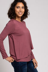 PinkBlush Mauve Solid Layered Front Long Sleeve Nursing Top