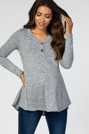 Grey Heathered Button Front Maternity Top