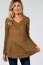 Camel Heathered Button Front Maternity Top