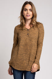 Camel Heathered Button Front Top