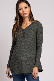 Olive Heathered Button Front Maternity Top