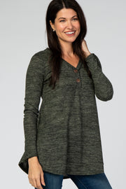 Olive Heathered Button Front Top