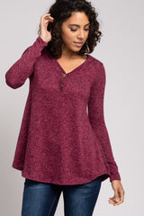 Burgundy Heathered Button Front Top