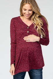 Burgundy Heathered Button Front Maternity Top