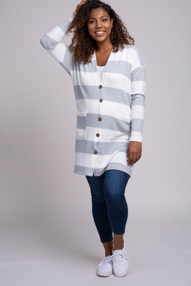 Grey Striped Button Front Maternity Cardigan