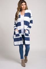 Navy Blue Striped Button Front Cardigan