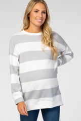 Heather Grey Striped Soft Brushed Maternity Sweatshirt