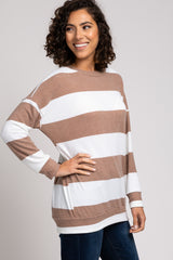 Taupe Striped Soft Brushed Sweatshirt