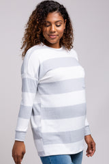 Grey Striped Soft Brushed Knit Maternity Top