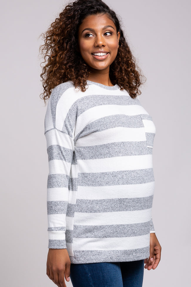 Heather Grey Striped Soft Brushed Knit Maternity Top