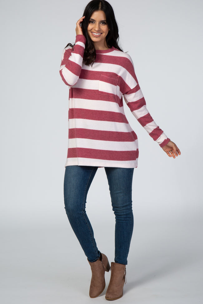 Burgundy Striped Soft Brushed Knit Top