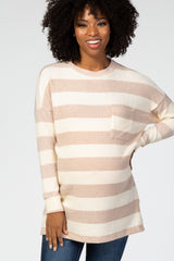 Beige Striped Soft Brushed Knit Maternity Top
